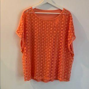 Cato orange 26/28 crochet detail pullover top
